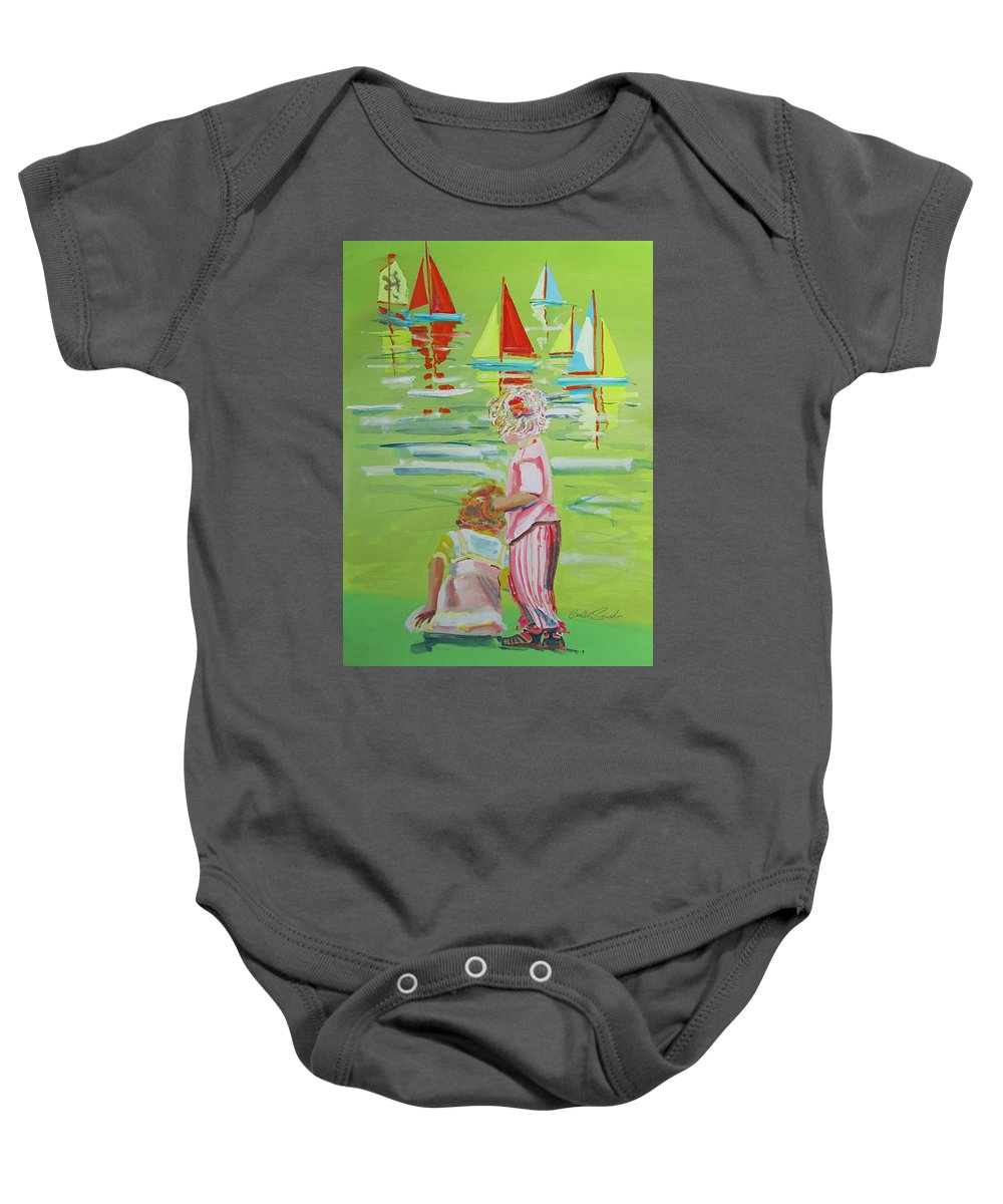 Kids Baby Onesie featuring the painting Regatta by Charles Stuart
