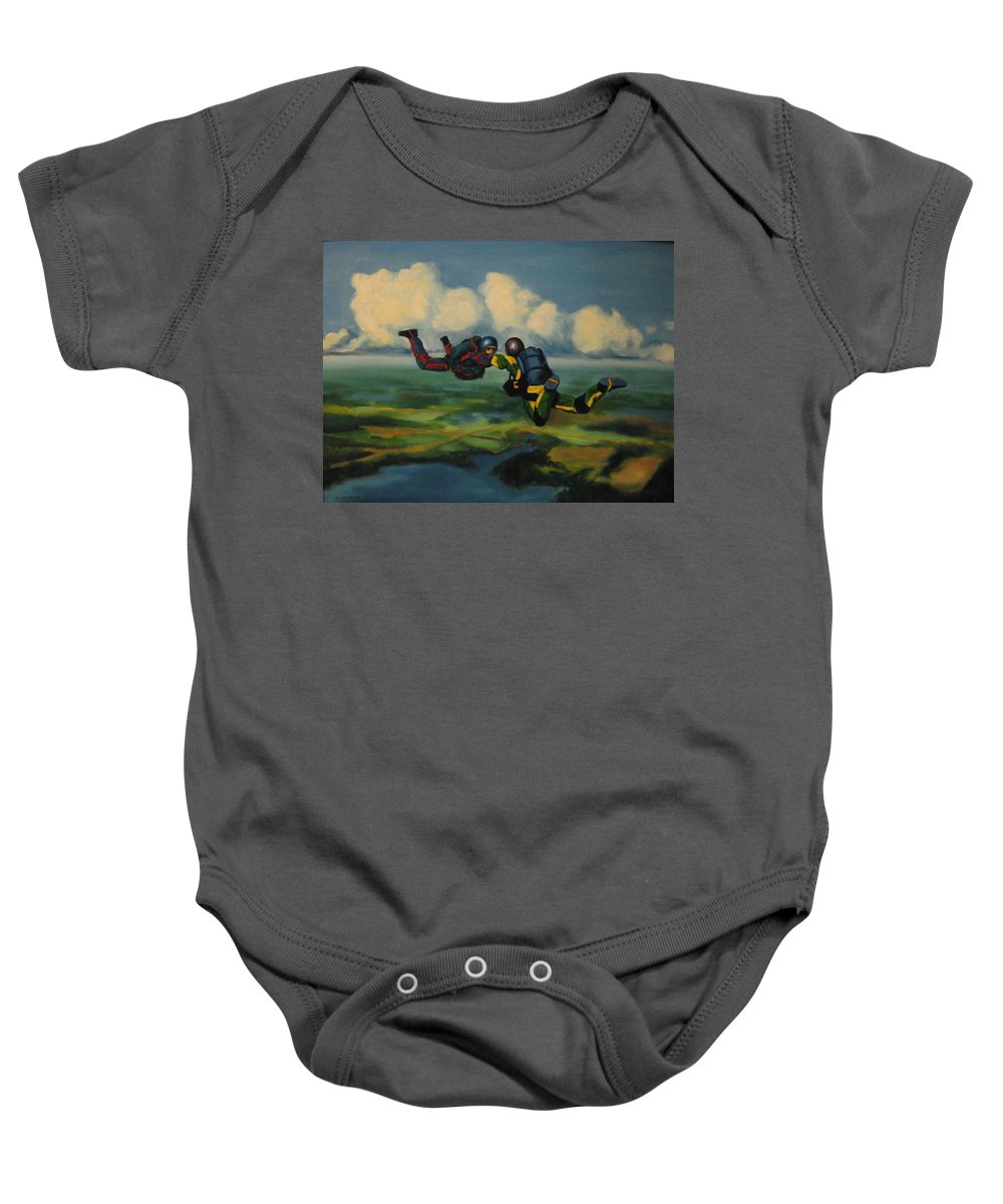 Skydivers Baby Onesie featuring the painting Relative Work by John Malone