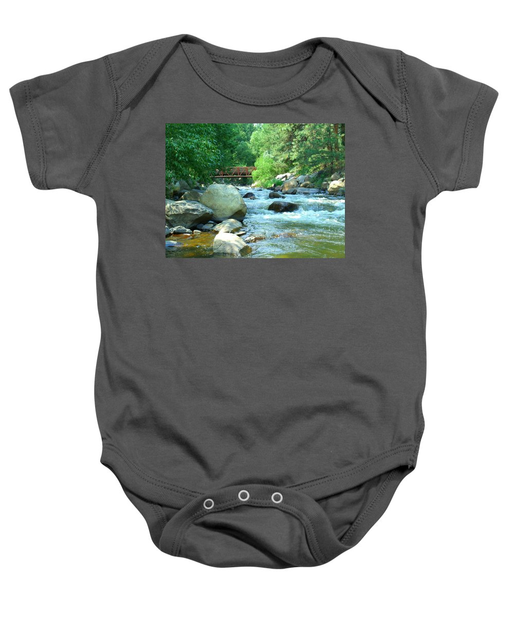 Big Thompson River Baby Onesie featuring the photograph Remembering by Jessica Myscofski