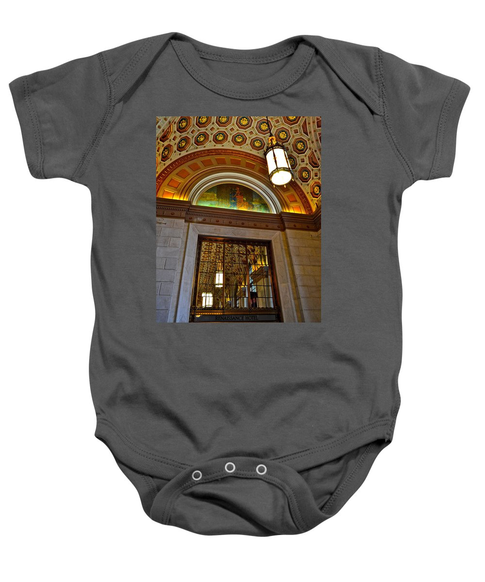 Entry Baby Onesie featuring the photograph Renaissance Hotel Cleveland by Frozen in Time Fine Art Photography