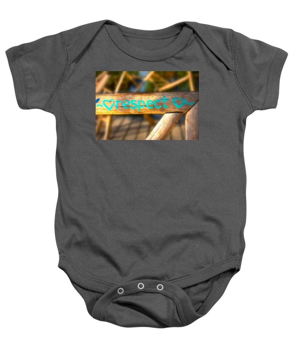 Lee Vanderwalker Baby Onesie featuring the photograph Respect Caye Caulker by Lee Vanderwalker