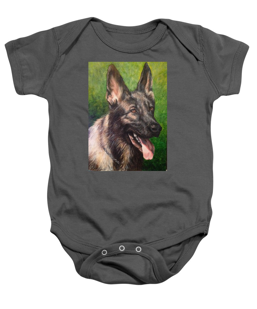 Pet Portrait Baby Onesie featuring the painting Rest In Peace by Katherine Boiczyk