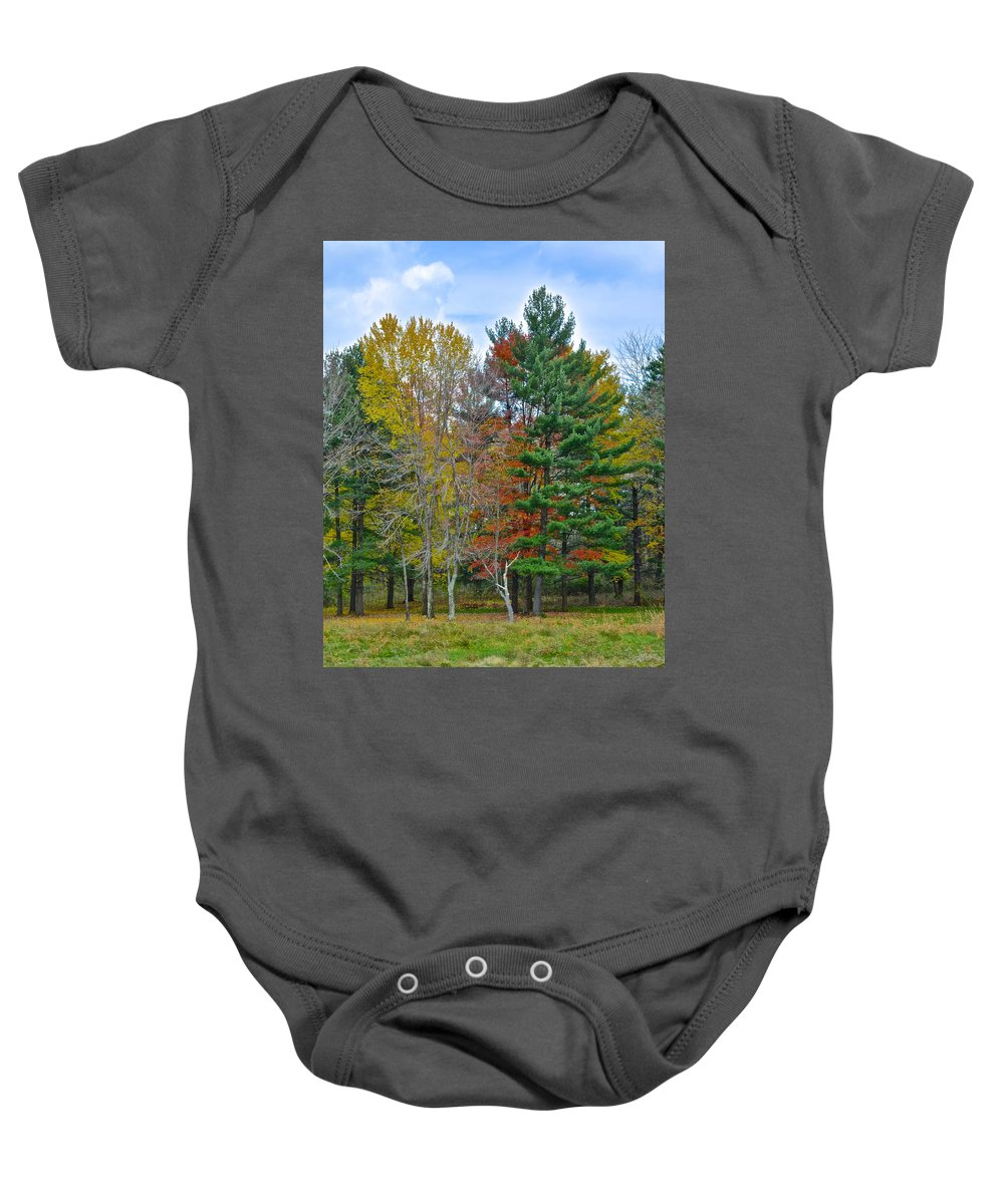 Pine Baby Onesie featuring the photograph Retreating Pines by Frozen in Time Fine Art Photography