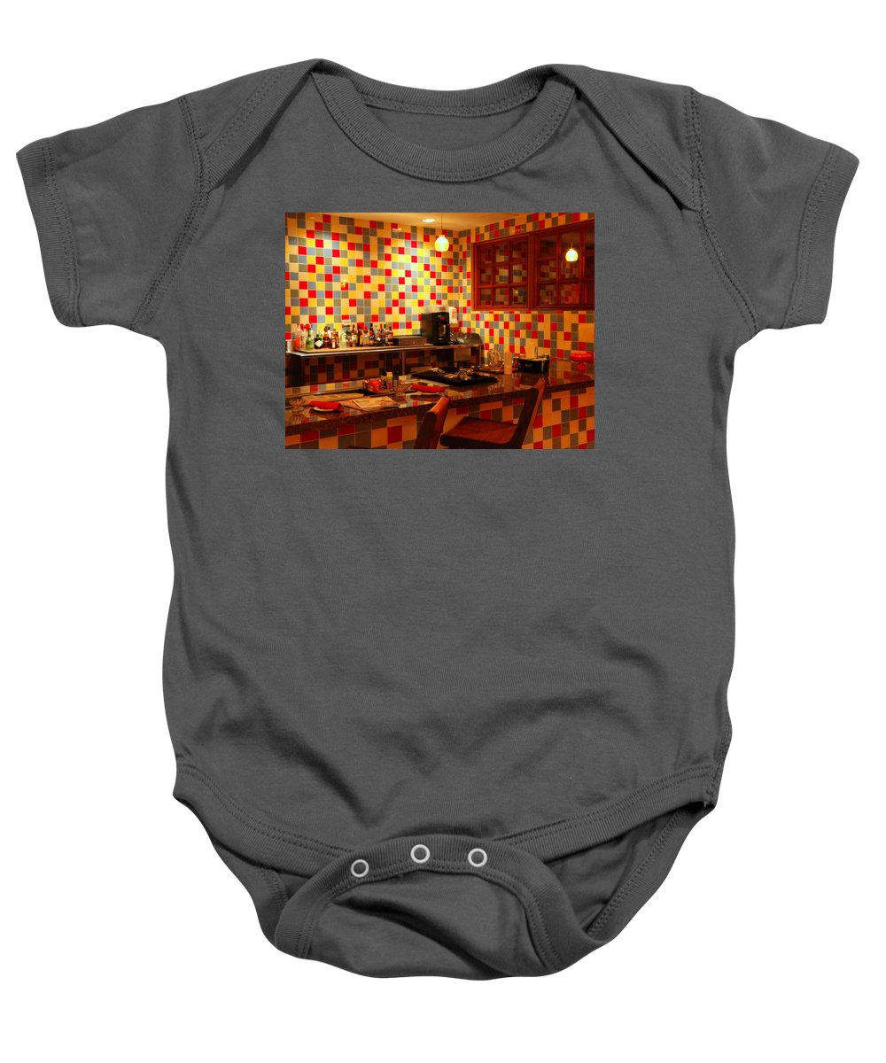 Diner Baby Onesie featuring the photograph Retro Diner by Karen Wiles