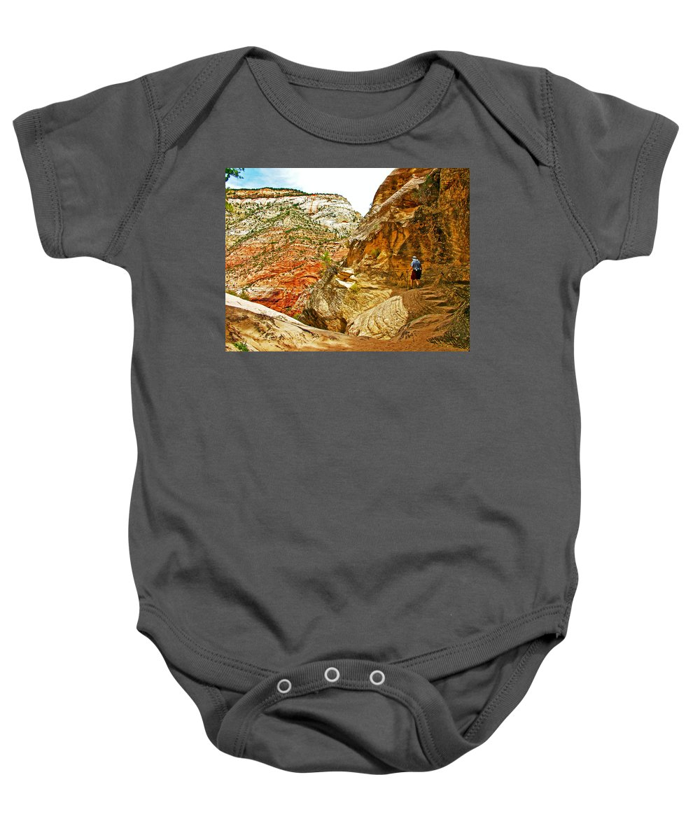 Return Trip On Hidden Canyon Trail In Zion National Park Baby Onesie featuring the photograph Return Trip On Hidden Canyon Trail In Zion National Park-utah by Ruth Hager