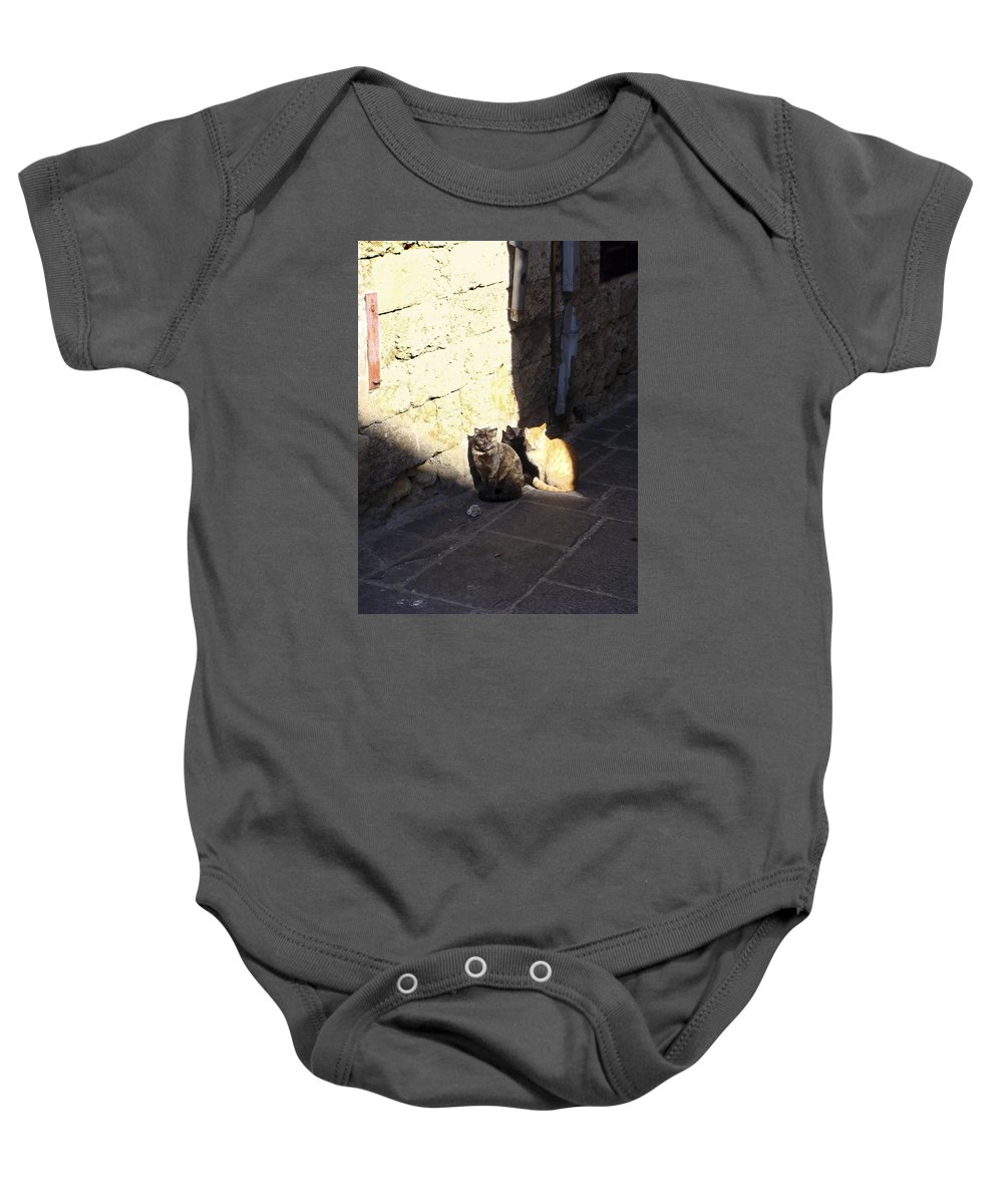 Karen Zuk Rosenblatt Art And Photography Baby Onesie featuring the photograph Rhodes Cat Trio by Karen Zuk Rosenblatt