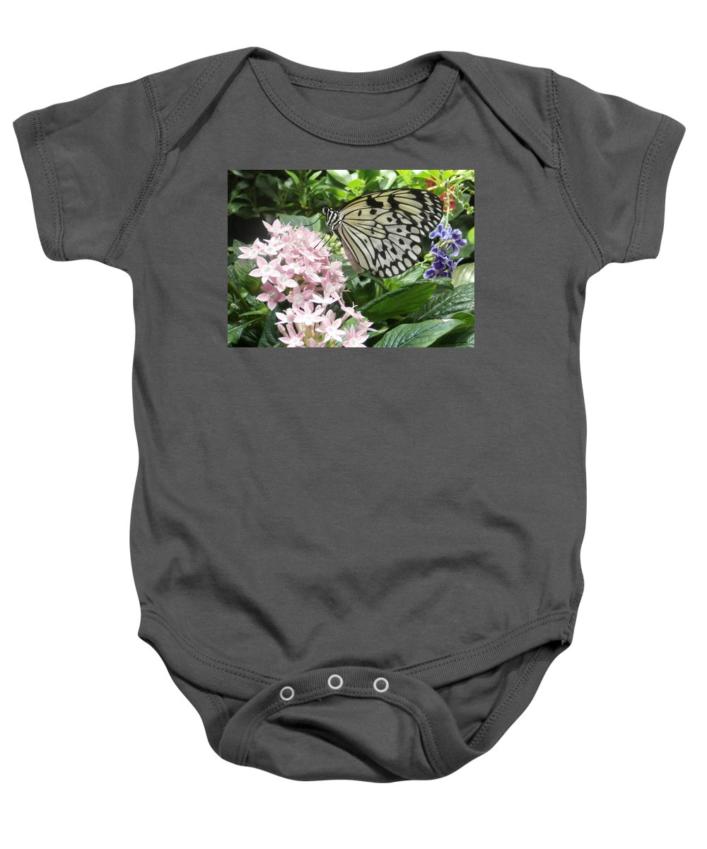 Rice Paper Baby Onesie featuring the photograph Rice Paper On Flower by Richard Bryce and Family