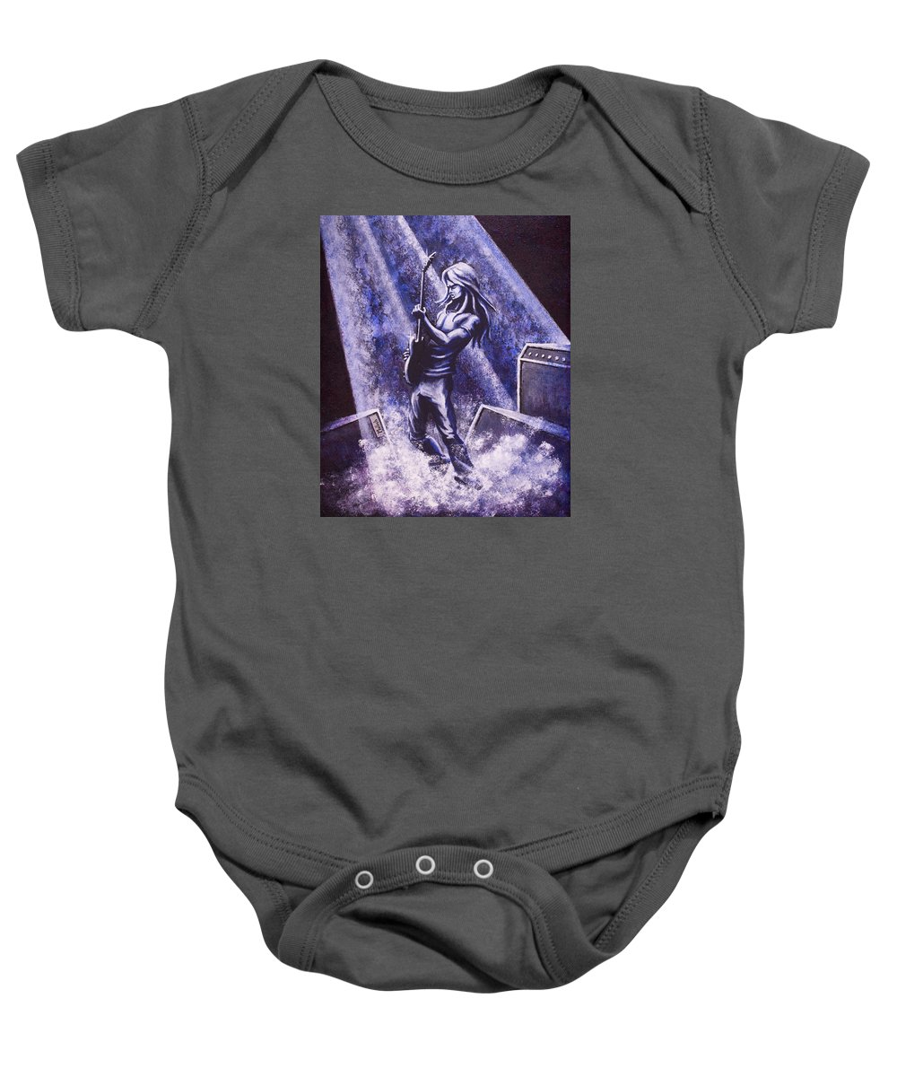 Guitar Player Baby Onesie featuring the painting Riff by Jack Malloch