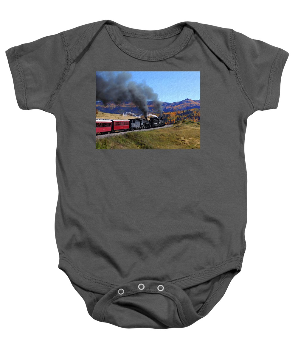 Railroad Baby Onesie featuring the photograph Rio Grande 488 And 489 by Kurt Van Wagner