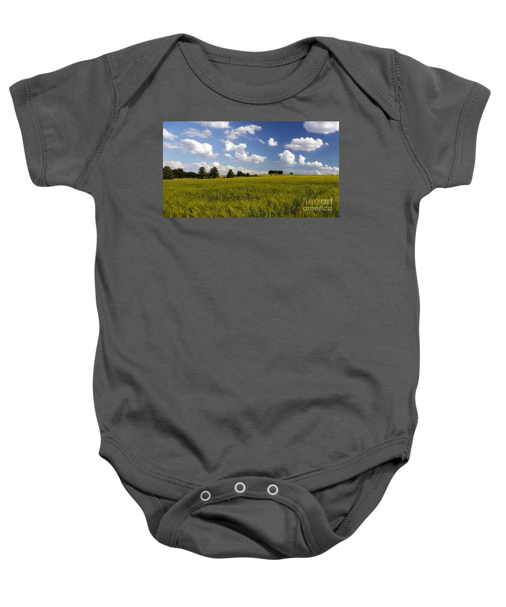 Barley Baby Onesie featuring the photograph Green Belt Land 2 by John Chatterley