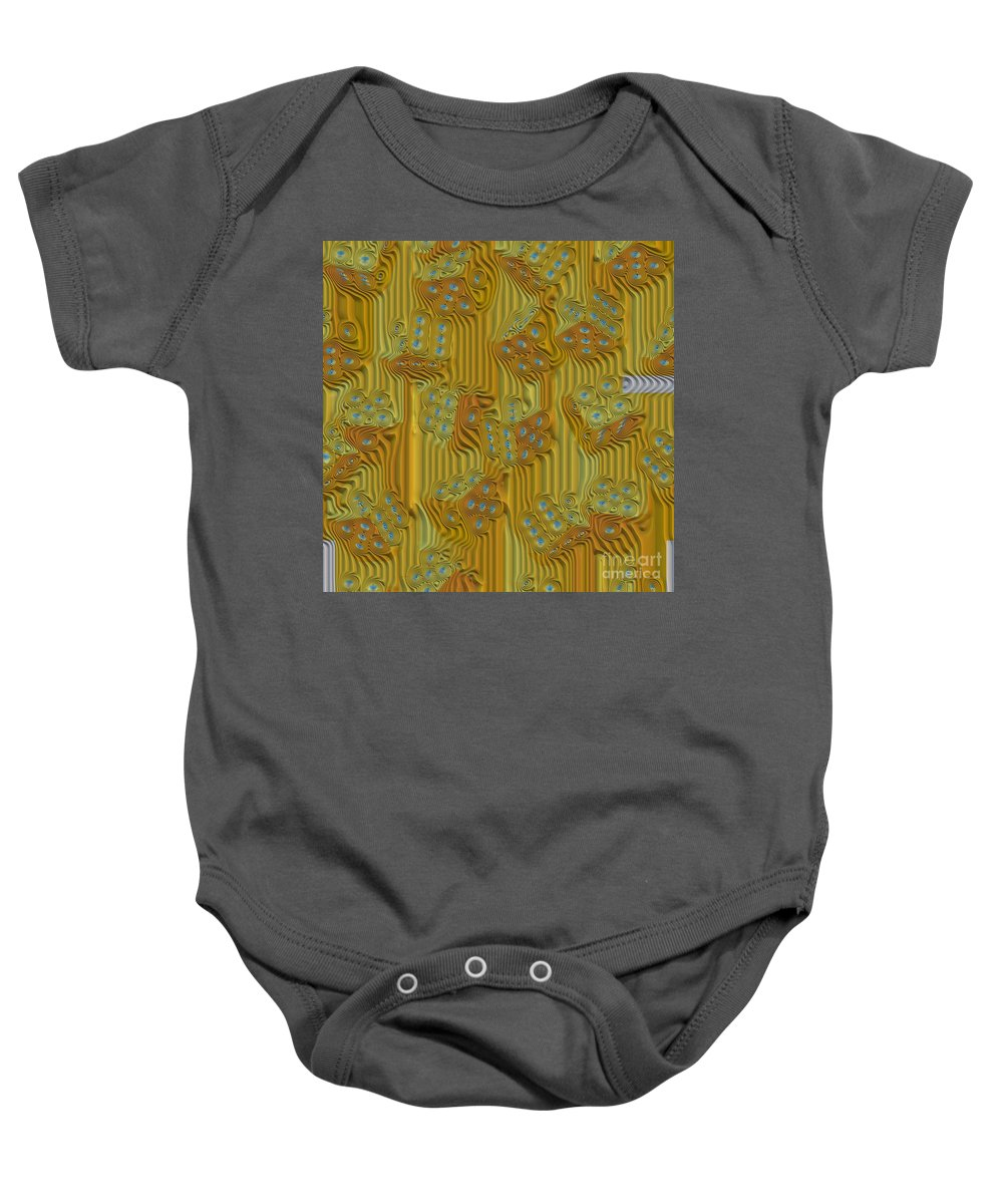 Rippled Dice Abstract Baby Onesie featuring the digital art Rippled Dice Abstract by Liane Wright