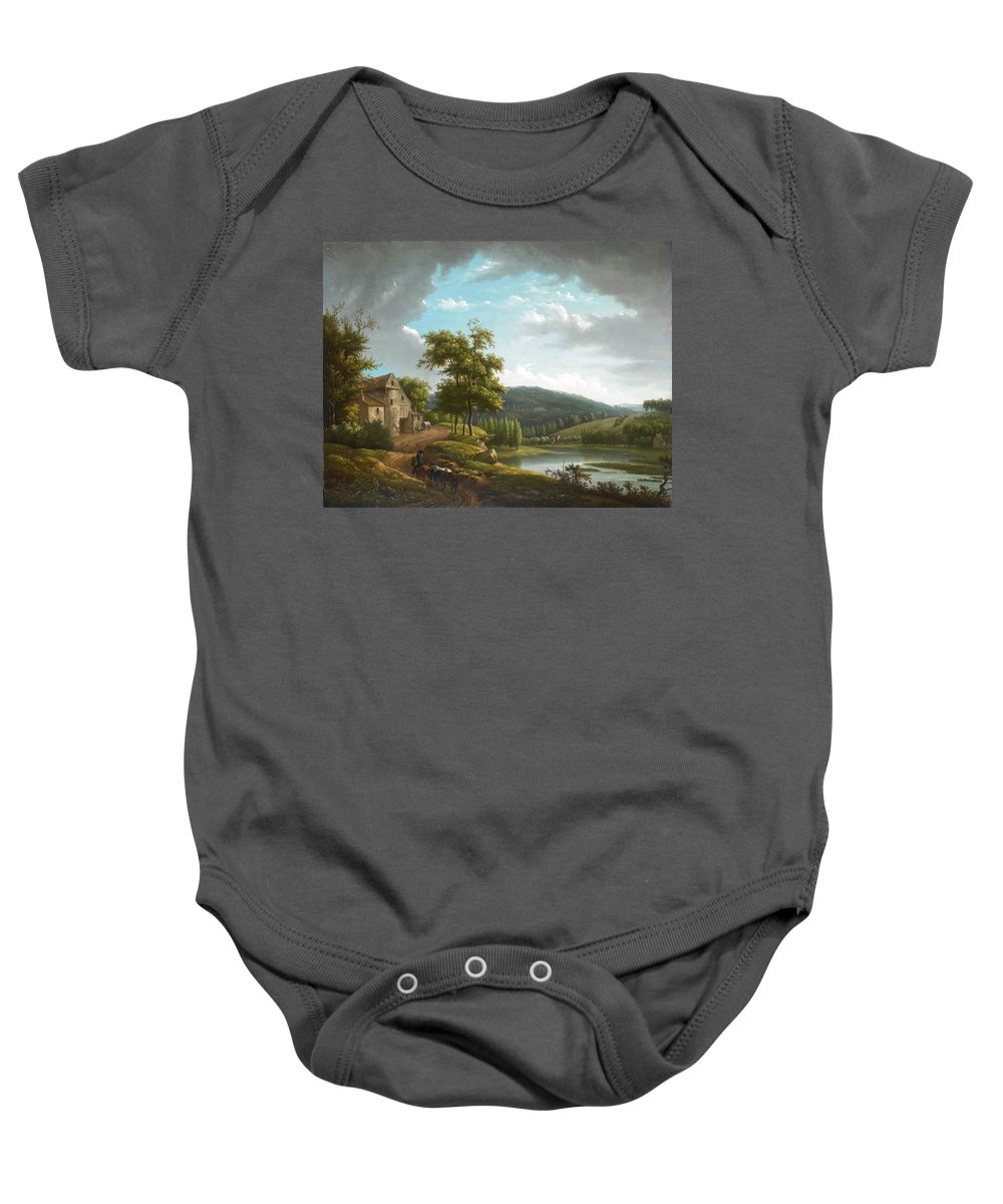 Alexandre-hyacinthe Dunouy Baby Onesie featuring the painting River Landscape With Farmhouse by Alexandre-Hyacinthe Dunouy