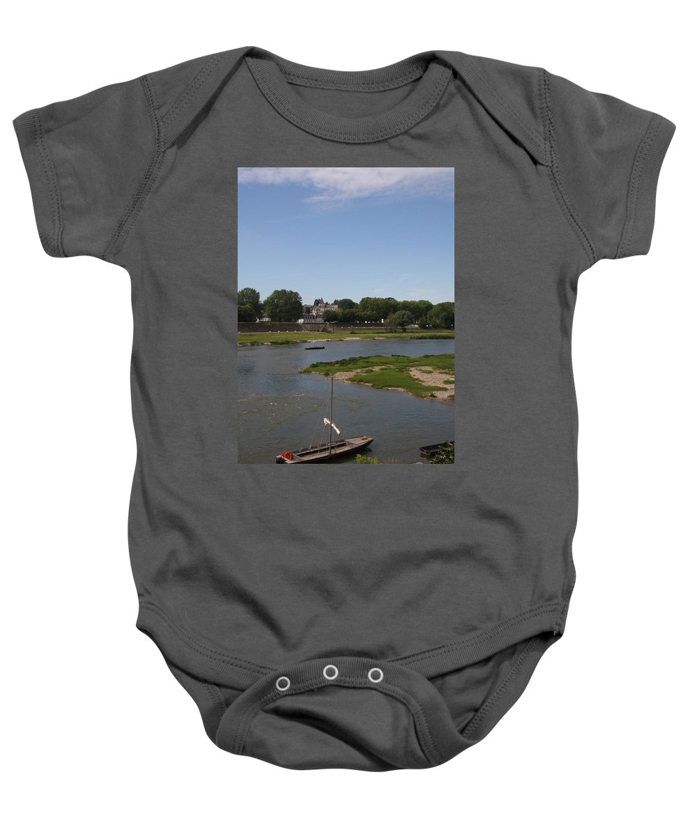 Boat Baby Onesie featuring the photograph River Loire Fishing Boat by Christiane Schulze Art And Photography