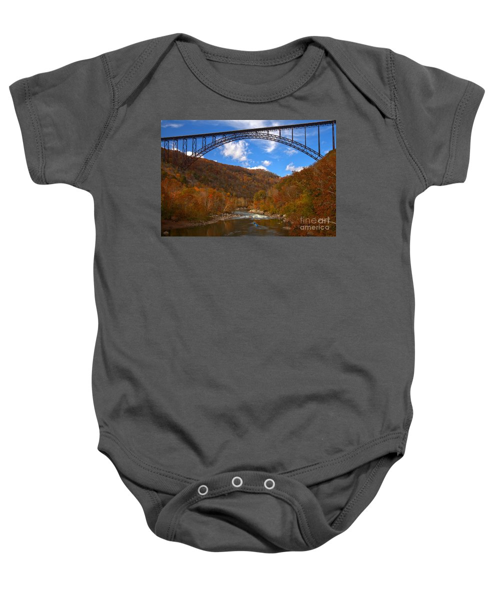 Rafting Baby Onesie featuring the photograph River Rafting At New River by Adam Jewell
