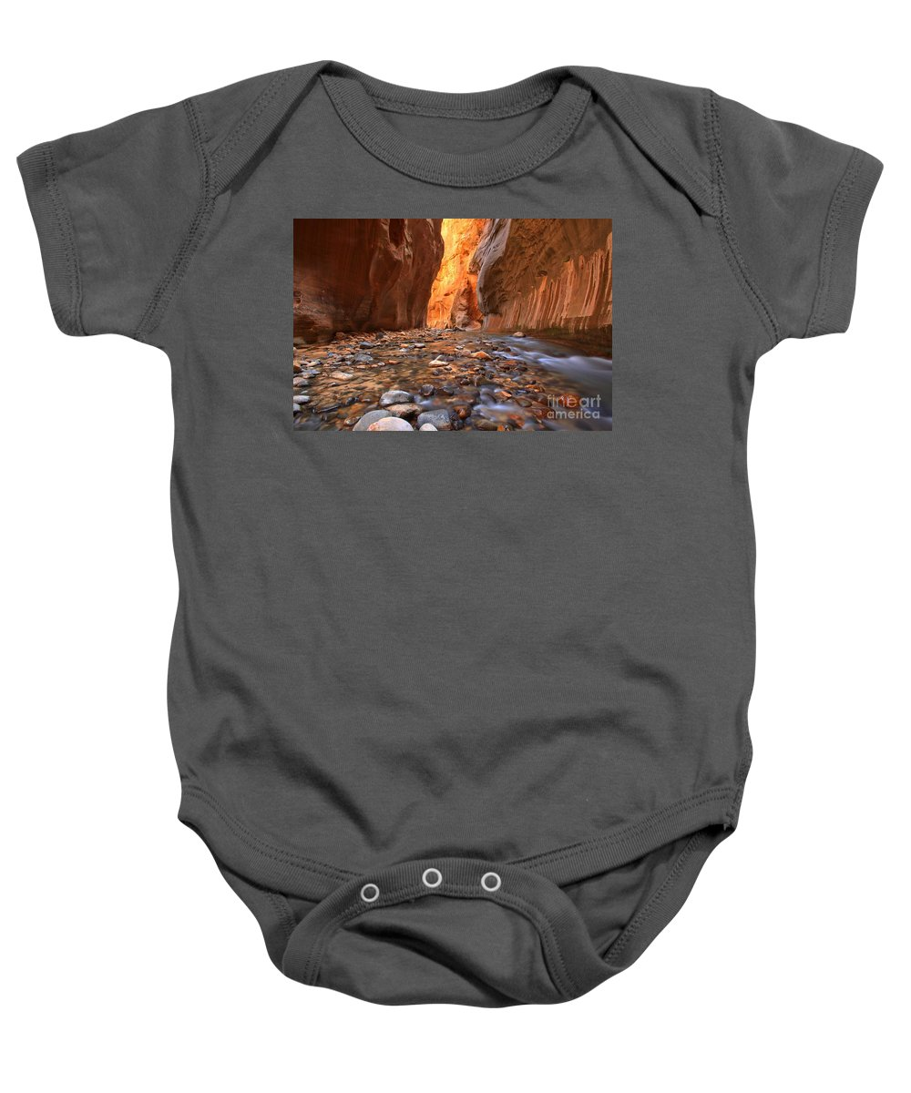 Zion Narrows Baby Onesie featuring the photograph River Rocks In The Narrows by Adam Jewell