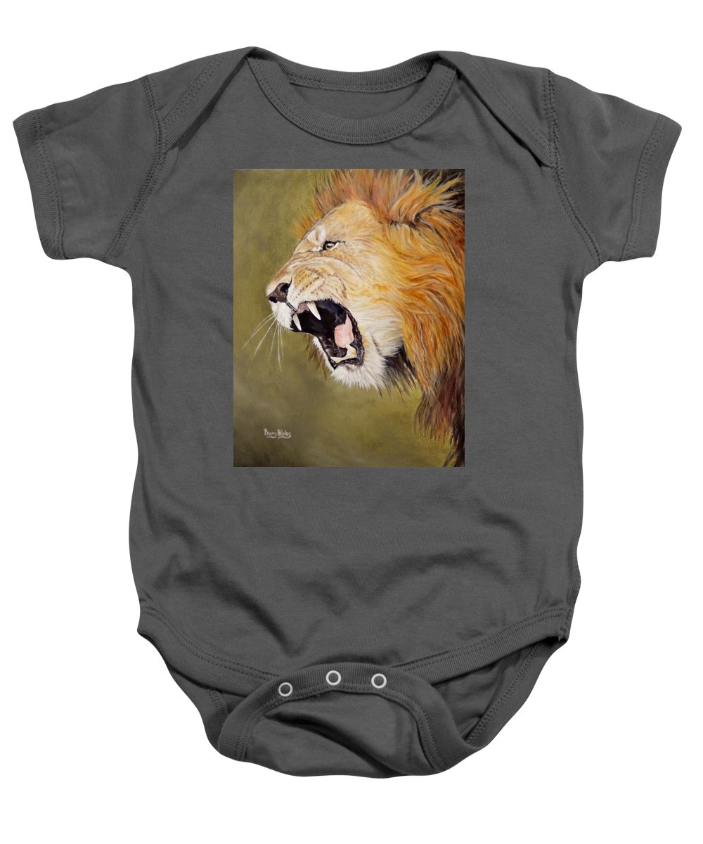 Africa Baby Onesie featuring the painting Roar by Barry BLAKE