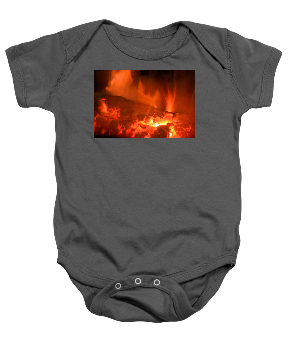 Fire Baby Onesie featuring the photograph Face In The Fire by Bonfire Photography