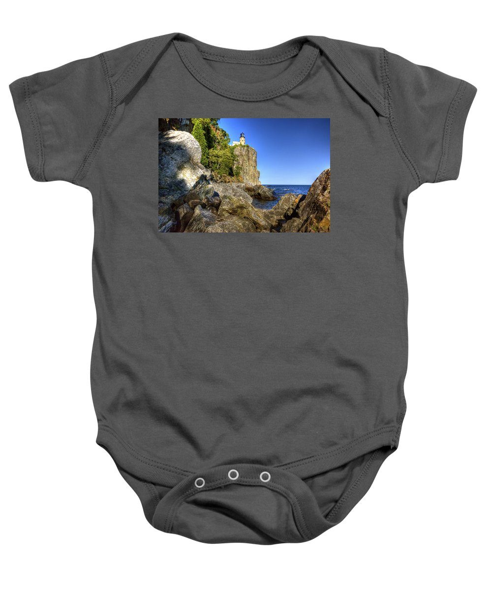 Split Rock Lighthouse Baby Onesie featuring the photograph Rock Framed Split Rock by Bryan Benson