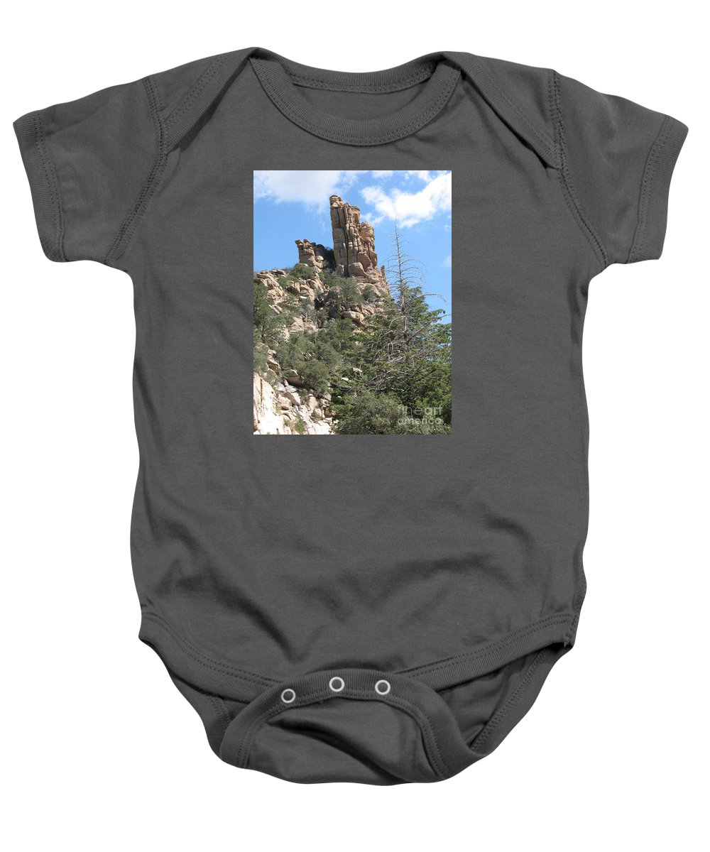 Rock Baby Onesie featuring the photograph Rocks Reaching To The Sky by Christiane Schulze Art And Photography
