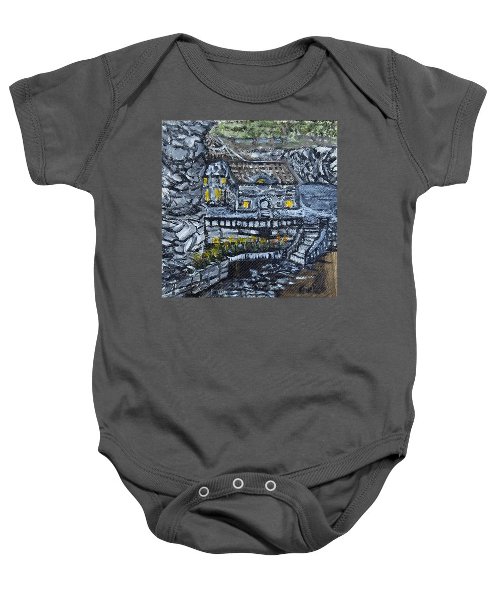 Rocks Baby Onesie featuring the painting Rocky Cottage by Suzanne Surber