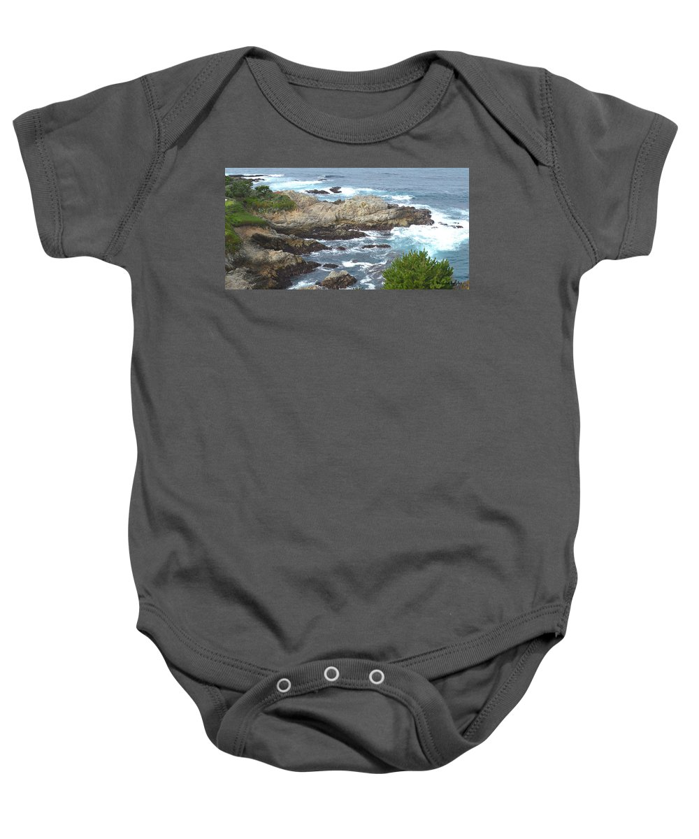 Rocky Cove Baby Onesie featuring the digital art Rocky Cove Detail by Barbara Snyder