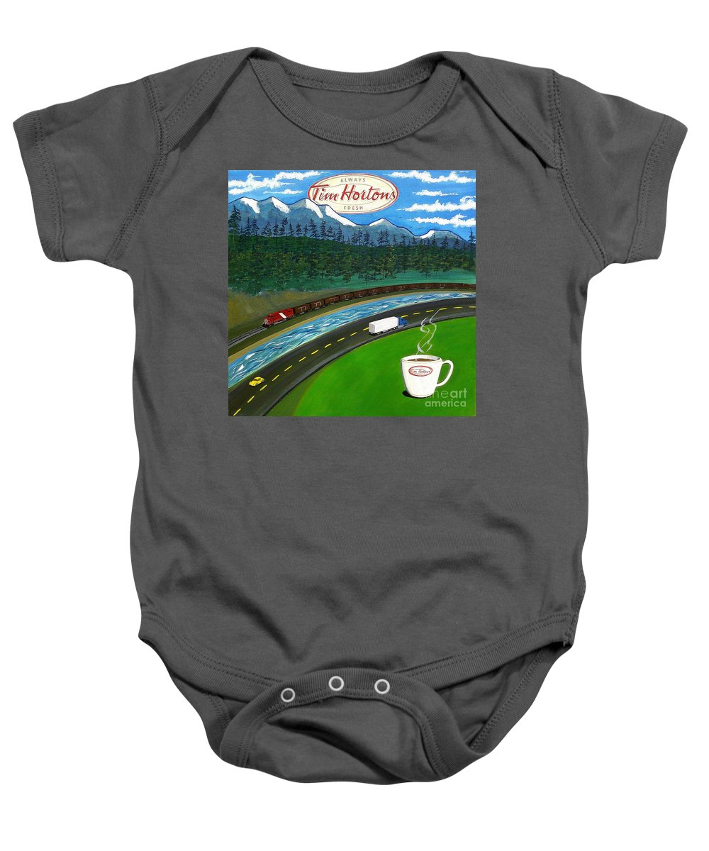 John Lyes Baby Onesie featuring the painting Rocky Mountains by John Lyes