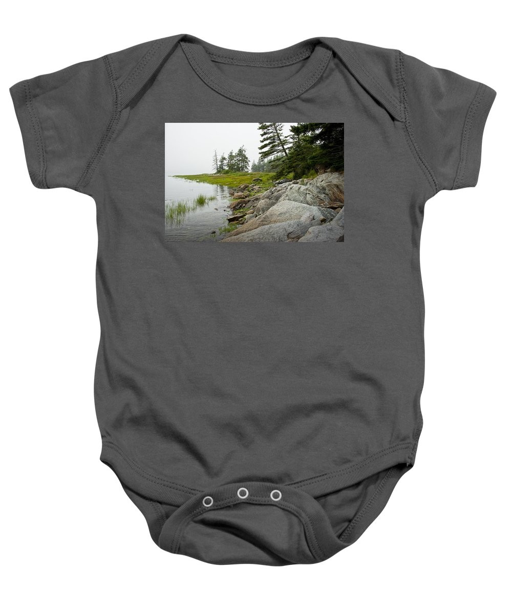 Art Baby Onesie featuring the photograph Rocky Shore By The Narrows To Mount Desert Island by Randall Nyhof