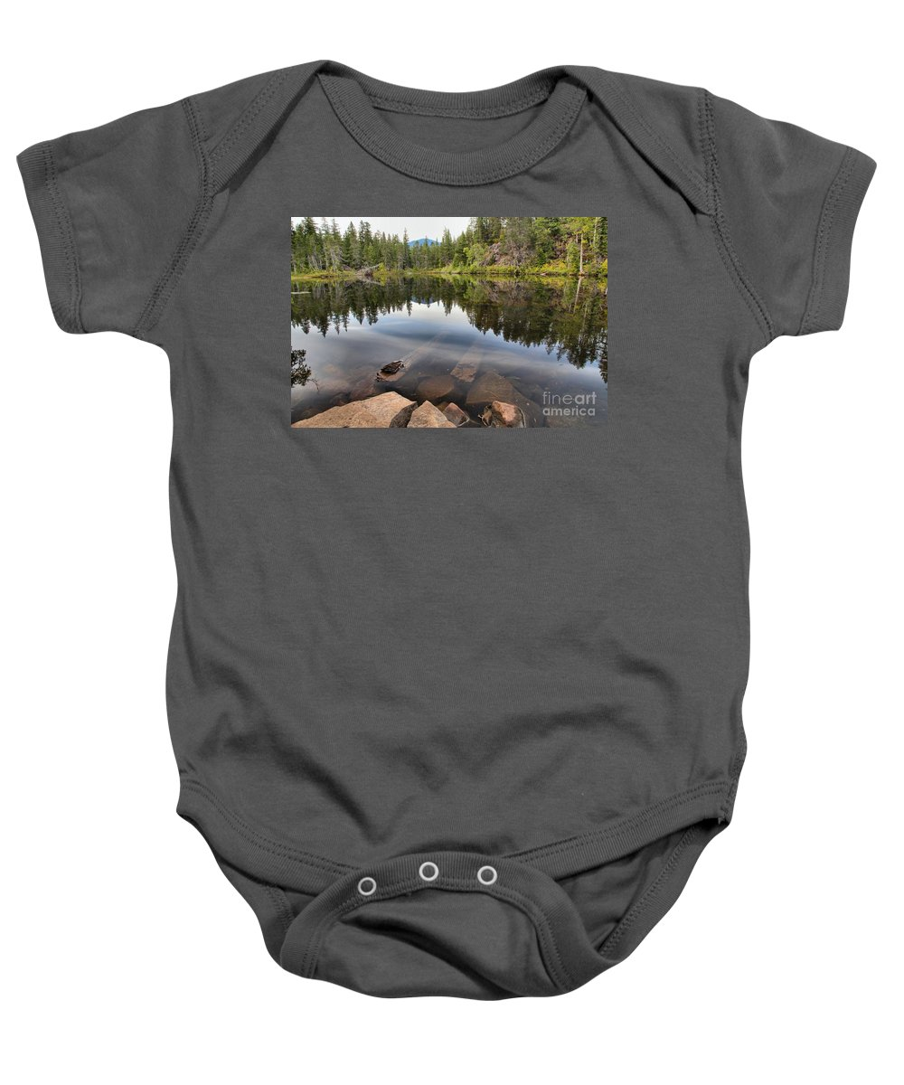 Swim Lake Baby Onesie featuring the photograph Rocky Shores At Swim Lake by Adam Jewell