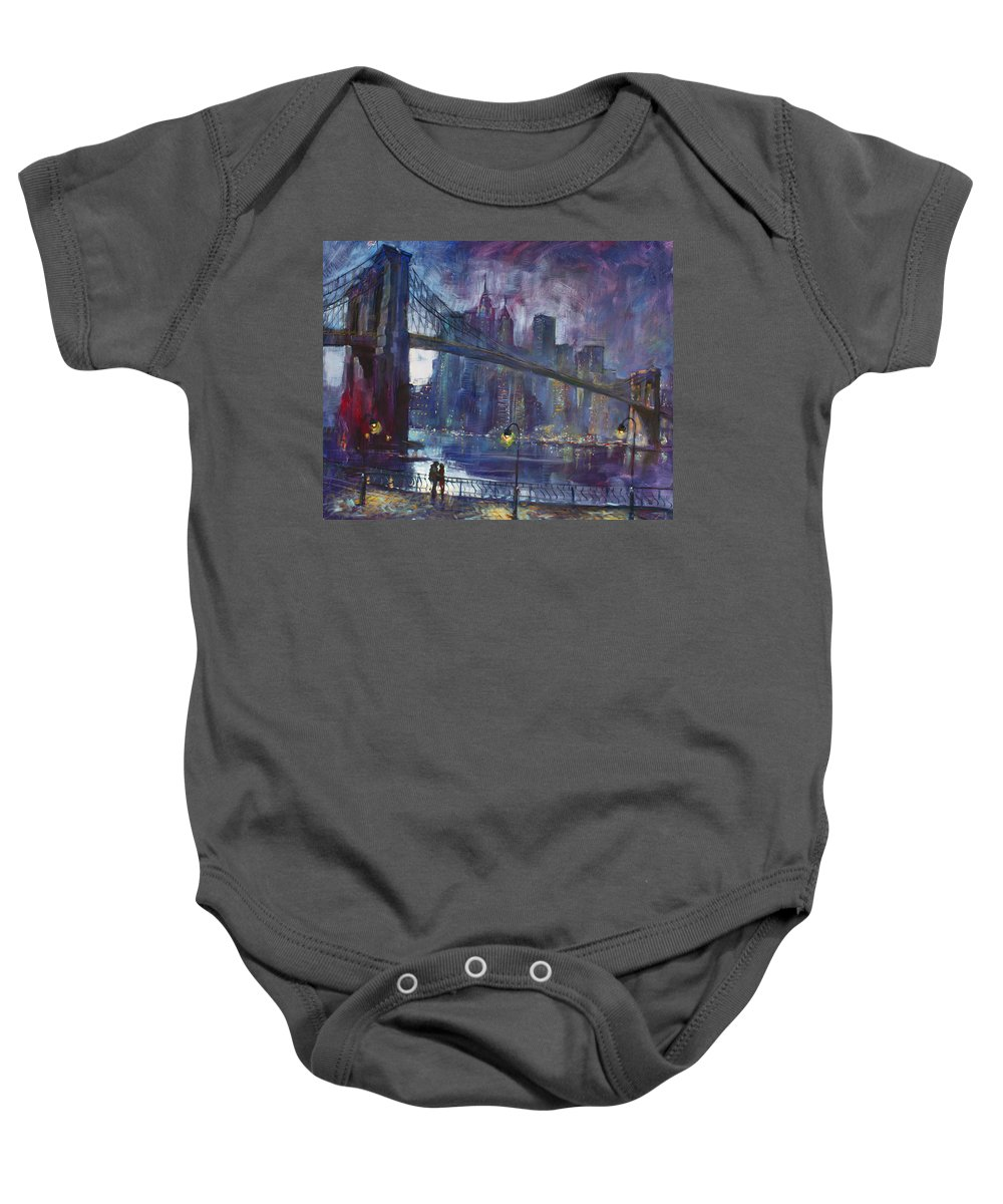 Brooklyn Bridge Baby Onesie featuring the painting Romance by East River NYC by Ylli Haruni