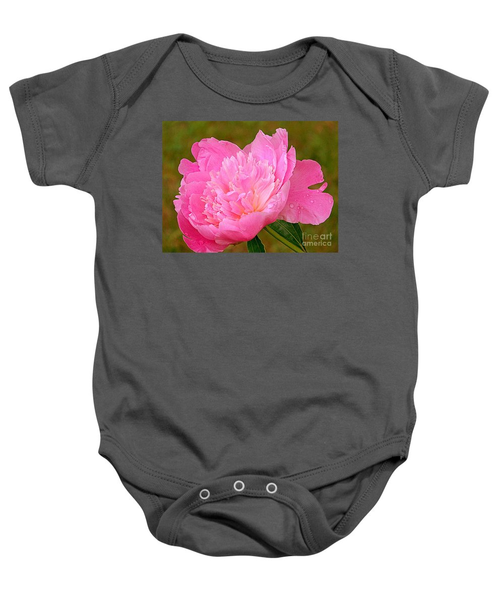 Flora Baby Onesie featuring the photograph Pink Peony by Eunice Miller