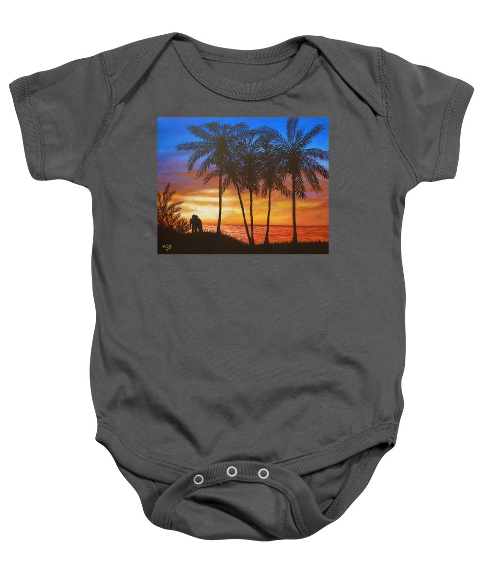 Romance Baby Onesie featuring the painting Romance In Paradise by Amelie Simmons