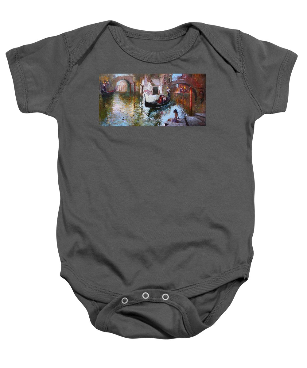 Romance Baby Onesie featuring the painting Romance In Venice 2013 by Ylli Haruni
