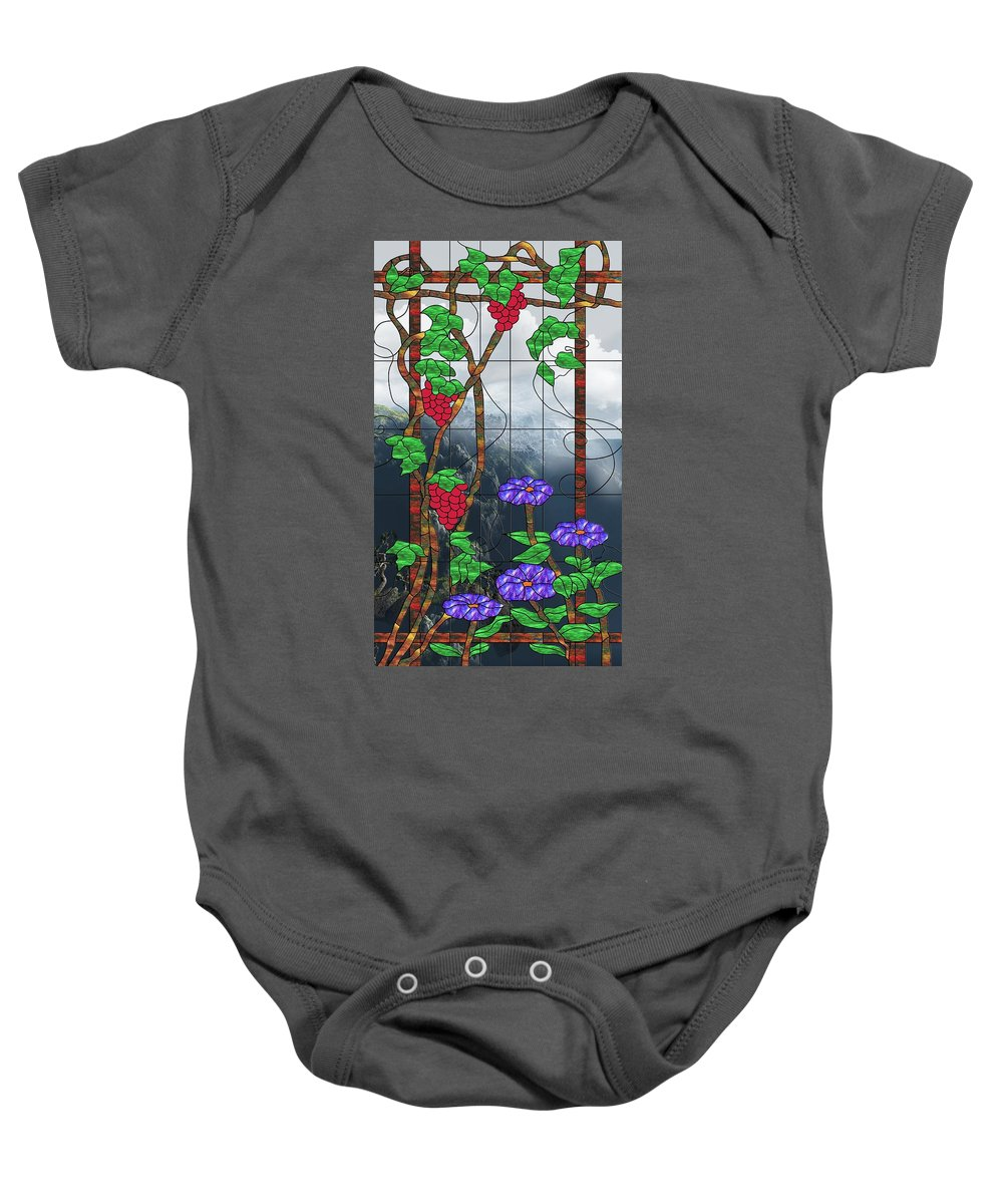 Room With A View Baby Onesie featuring the mixed media Room With A View by Georgiana Romanovna