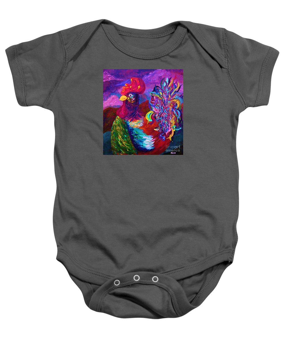 Rooster Baby Onesie featuring the painting Rooster On The Horizon by Eloise Schneider