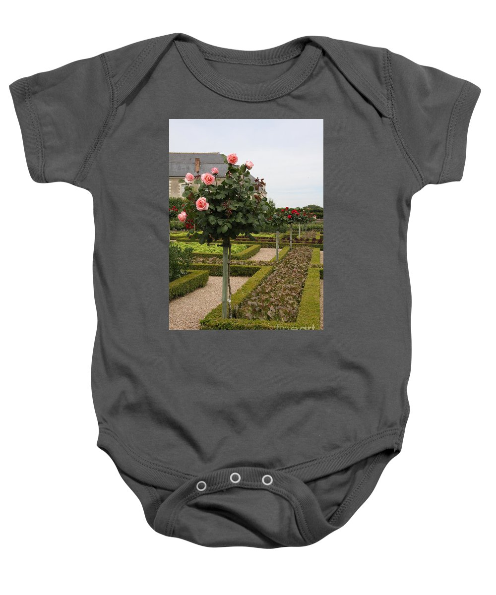 Roses Baby Onesie featuring the photograph Roses And Salad - Chateau Villandry by Christiane Schulze Art And Photography