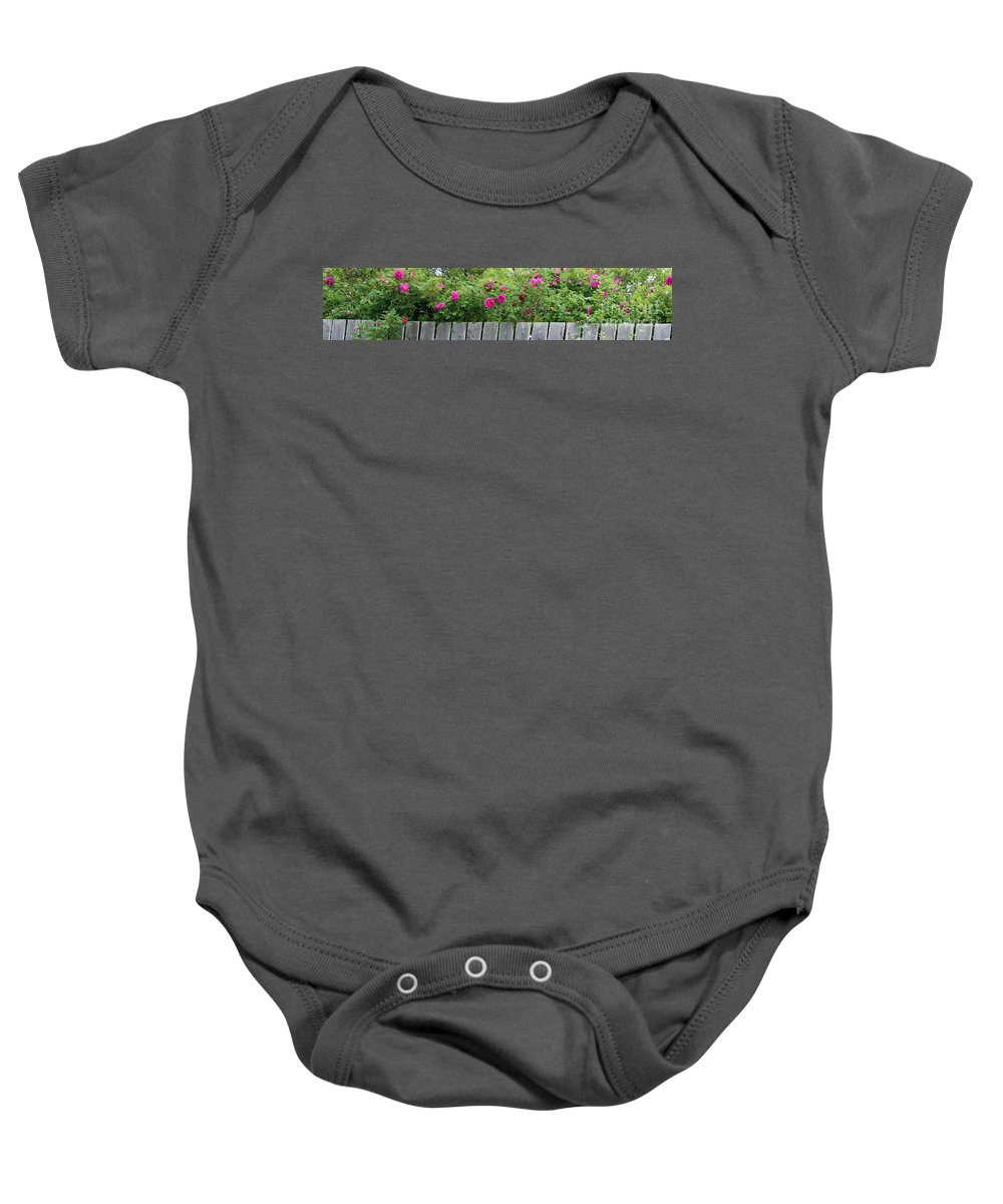 Fence Baby Onesie featuring the photograph Roses On A Fence by Barbara Griffin