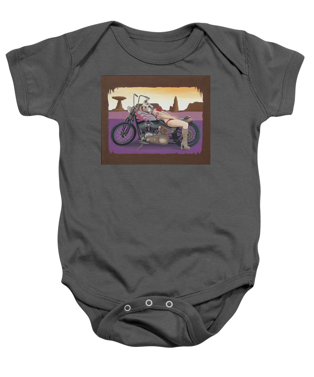 Motorcycle Baby Onesie featuring the painting Rosie The Pitbull Pinup by Stuart Swartz