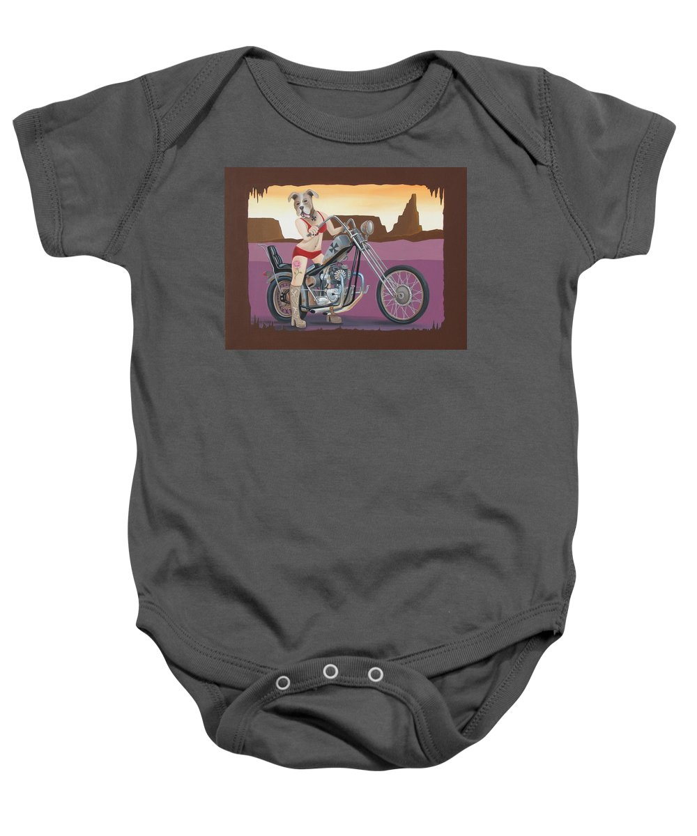 Motorcycle Baby Onesie featuring the painting Rosie's Chopper by Stuart Swartz