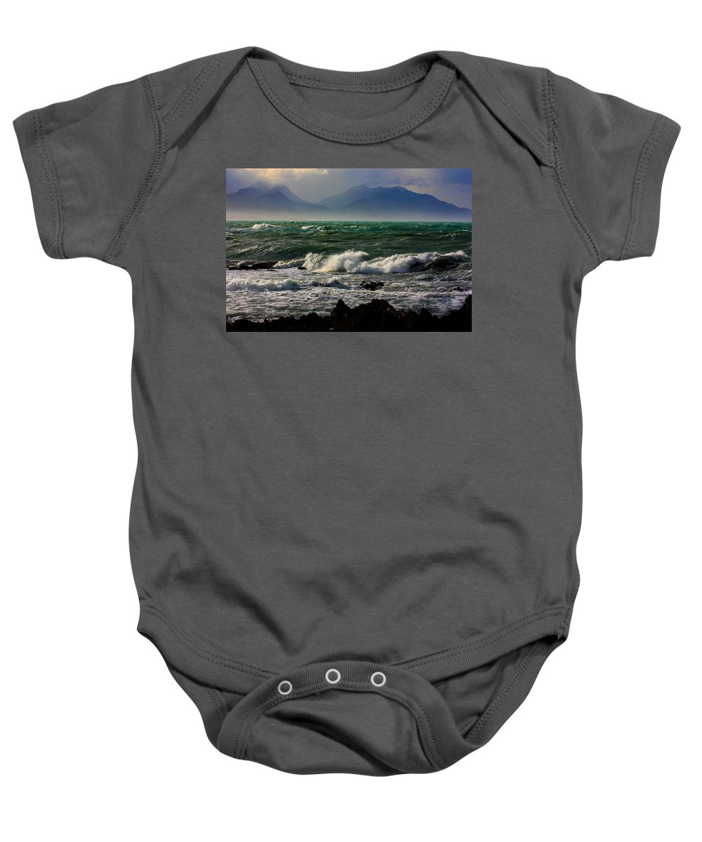 Rough Sea Baby Onesie featuring the photograph Rough Seas Kaikoura New Zealand by Amanda Stadther
