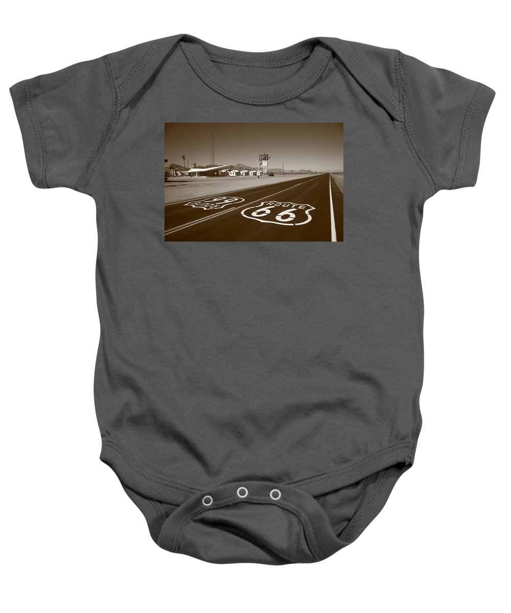 66 Baby Onesie featuring the photograph Route 66 - Amboy California by Frank Romeo