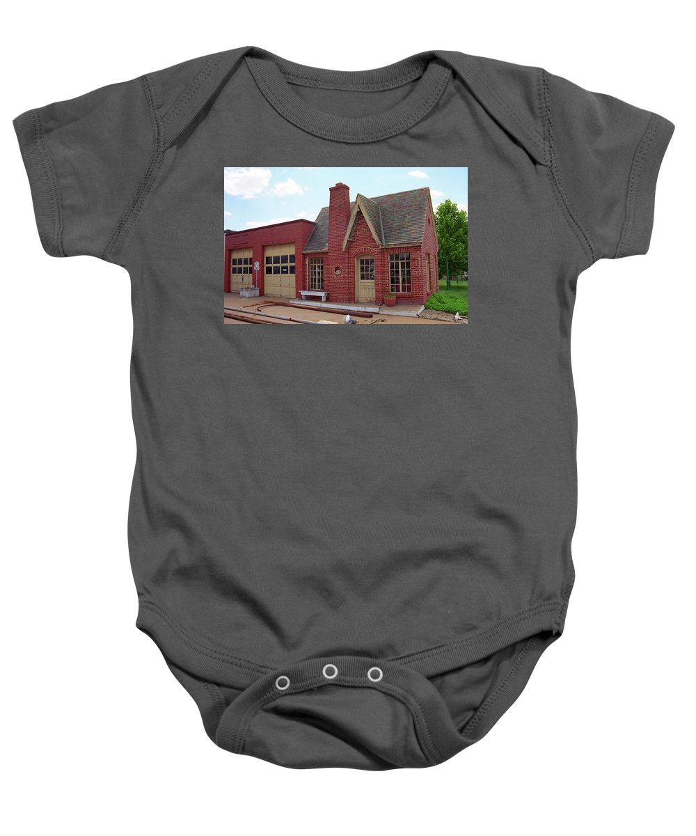66 Baby Onesie featuring the photograph Route 66 - Cottage Style Gas Station by Frank Romeo
