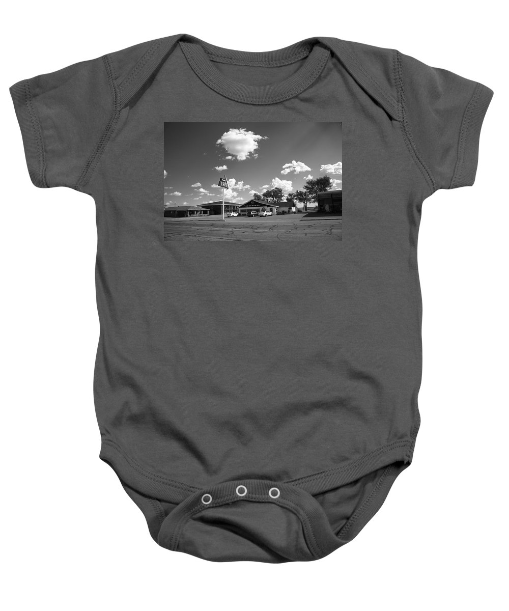66 Baby Onesie featuring the photograph Route 66 - Midpoint Cafe Adrian Texas by Frank Romeo