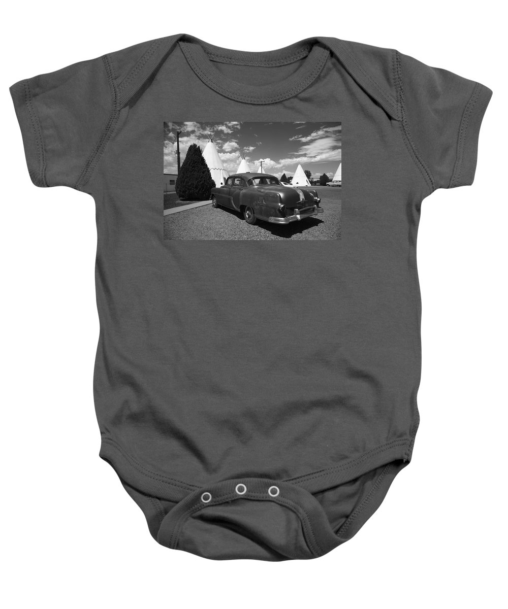 66 Baby Onesie featuring the photograph Route 66 Wigwam Motel And Classic Car 5 by Frank Romeo