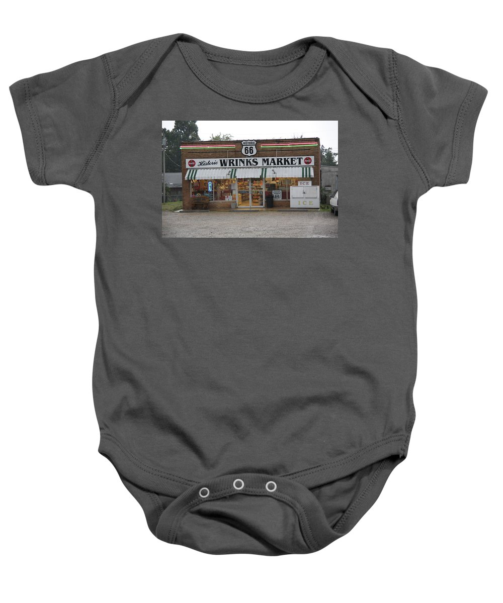66 Baby Onesie featuring the photograph Route 66 - Wrink's Market by Frank Romeo