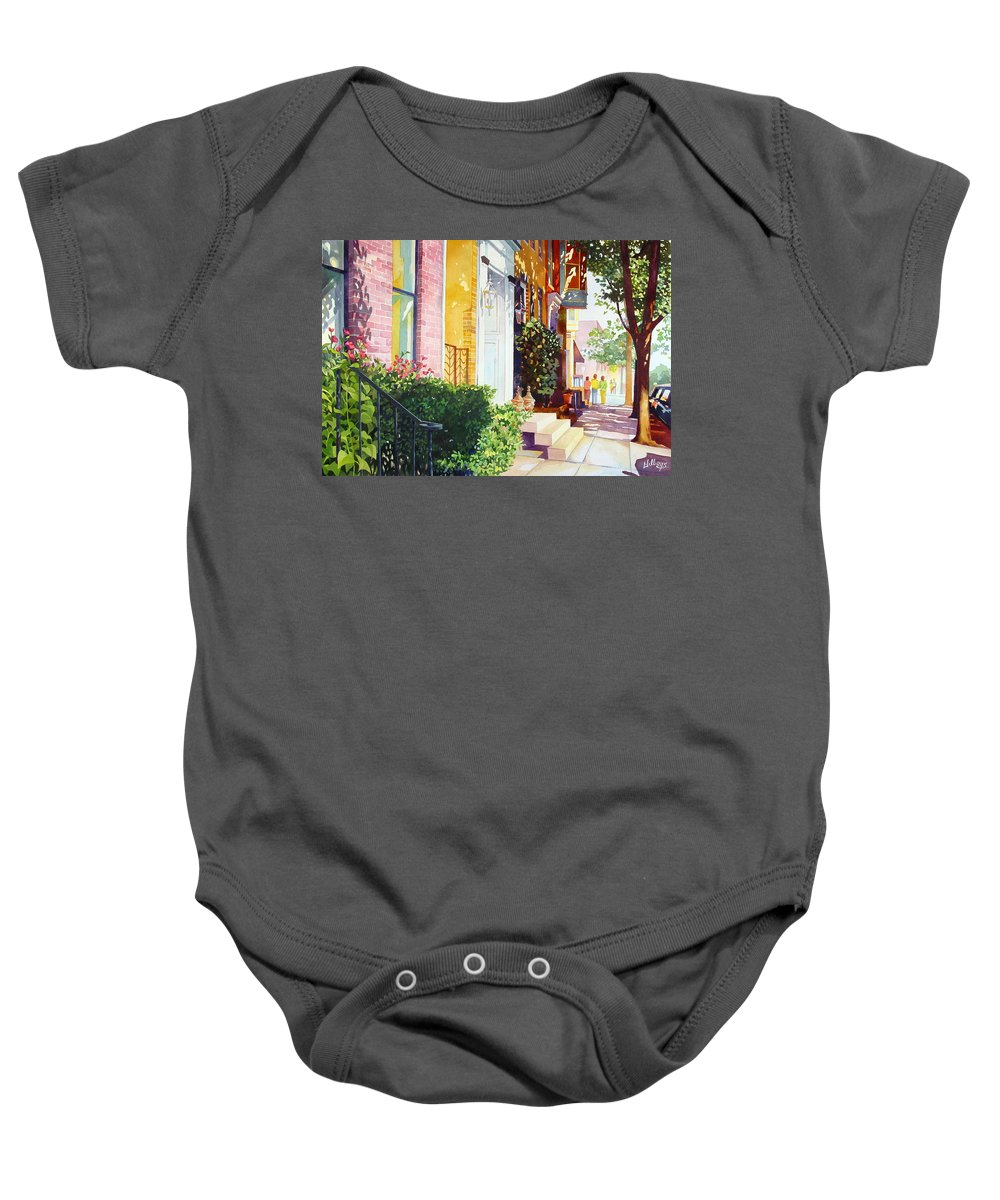 Landscape Baby Onesie featuring the painting Rowhouses by Mick Williams