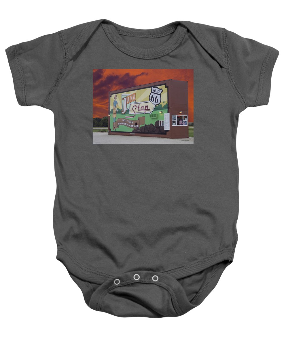 Java Baby Onesie featuring the photograph Rt 66 Dwight Il Java Stop by Thomas Woolworth