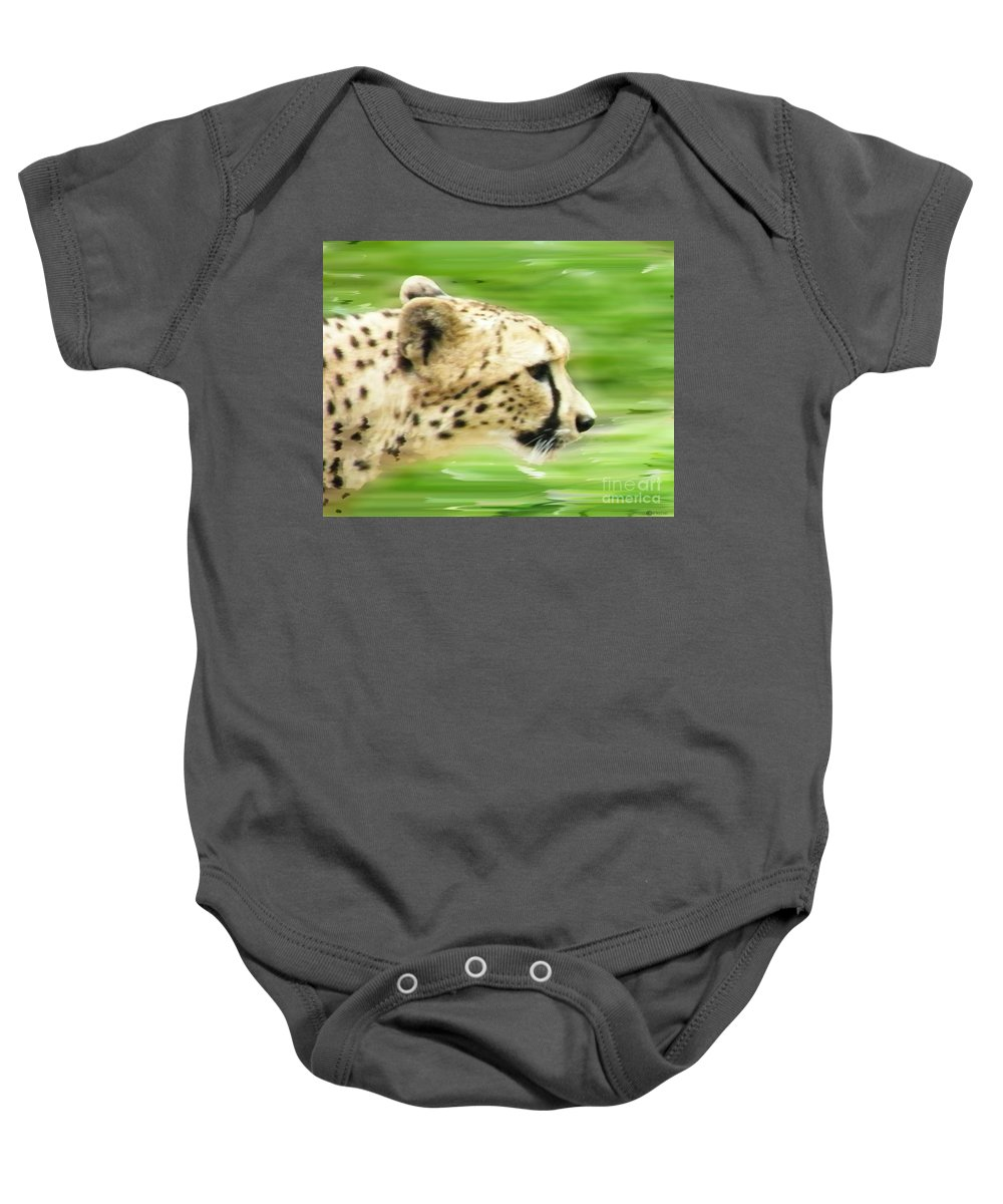 Baby Onesie featuring the digital art Run Cheetah Run by Lizi Beard-Ward