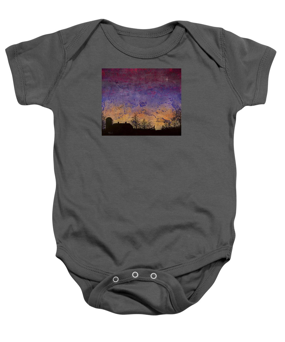 Farm Scene Baby Onesie featuring the painting Rural Sunset by Jack Malloch
