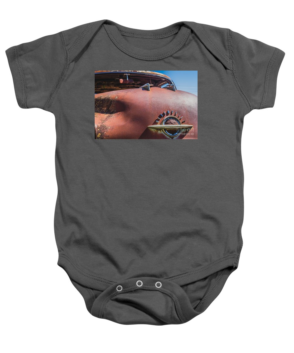 Oldsmobile Baby Onesie featuring the photograph Rusted Oldsmobile by Ashley M Conger