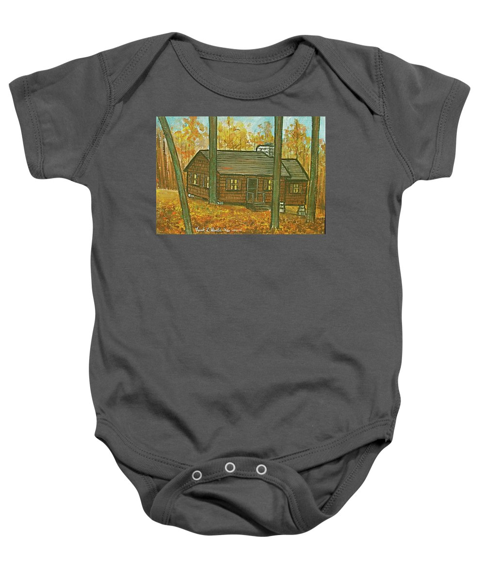 Brown Trees Cabin Fall Colors Baby Onesie featuring the painting Rustic Cabin At Lake Hope Ohio by Frank Hunter